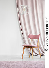 ピンク, 壁, 部屋, 空