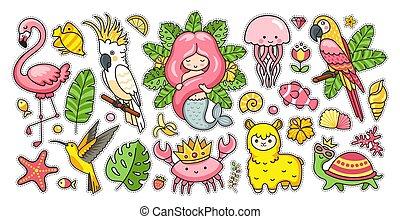 ピンク, 夏, セット, フラミンゴ, colibri, かわいい, 大きい, アルパカ, mermaid, トロピカル, crown., カニ, 素晴らしい, くらげ, macaw, ステッカー, カメ, バタンインコ