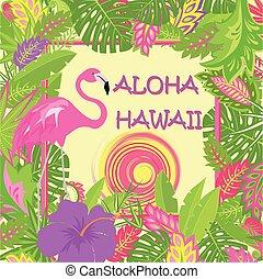 ピンク, 夏, フラミンゴ, ハイビスカス, 紫色, 太陽, 夏である, ポスター, 暑い, aloha, ハワイ, トロピカル, tshirt, 他, デザイン, 袋, tshirt, 印刷, パーティー, 葉, レタリング