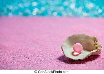 ピンク, 夏 休暇, 真珠, 砂ビーチ