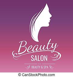 ピンク, 大広間, 女 シルエット, 美しさ, デザイン, 背景, ロゴ