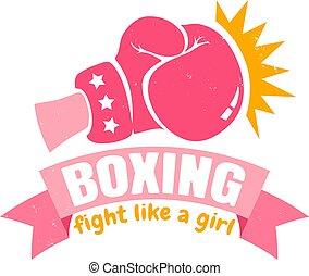 ピンク, 女の子, ボクシング, リボン, 手袋