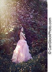 ピンク, 女の子, 花の服, 庭