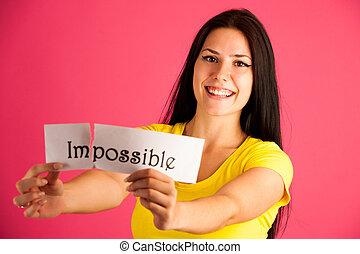 ピンク, 女, テキスト, 上に, 若い, 背景, 活動的, 不可能, 引き裂くこと, 離れて