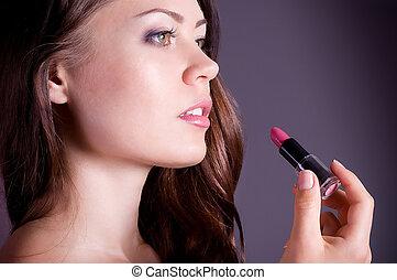 ピンク, 女, 適用, 若い, 口紅