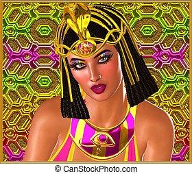 ピンク, 女, gold., エジプト人