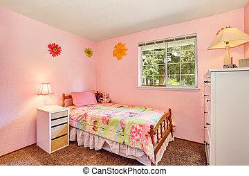 ピンク, 子供, floor., 寝室, 白, 家具, カーペット
