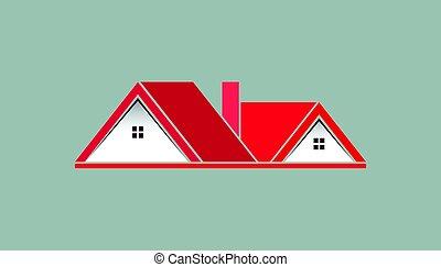 ピンク, 実質, ロゴ, 財産, 家