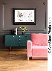 ピンク, 実質, 食器棚, 屋根裏, 木製である, ポスター, 灰色, floor., ソファー, 緑, の上, 写真, 内部