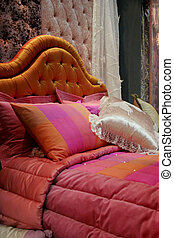 ピンク, 家の 内部, -, ベッド