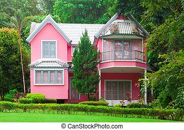 ピンク, 家, 森林