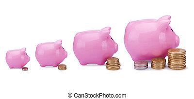 ピンク, 小豚, 銀行