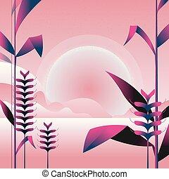 ピンク, 山, 自然, 紫色, 木, leaves., イラスト, 花, ベクトル, colors., 薮, style., 風景, 最小である