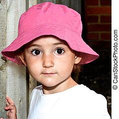 ピンク, 帽子, 女の子, 子供, 若い