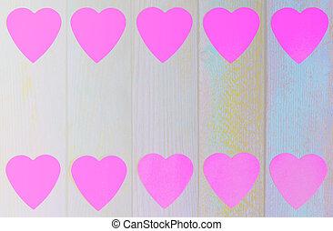 ピンク, 平ら, グランジ, 木製のフレーム, 光景, スペース, ペーパー, 位置, 背景, 心, コピー, 上, レトロ