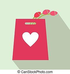 ピンク, 平ら, 買い物, チューリップ, 袋, アイコン