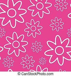 ピンク, 幸せ, 概念, パターン, seamless, 背景, 白い花, 日, 女性