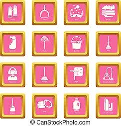 ピンク, 広場, アイコン, ベクトル, セット, 清掃, 道具