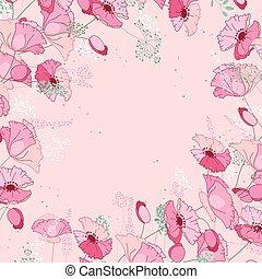 ピンク, 広場, シルエット, テンプレート, 抽象的, 定型, ハーブ, poppies., 花, plants.