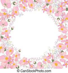 ピンク, 広場, シルエット, 抽象的, 定型, ハーブ, flowers., テンプレート, 花, plants.