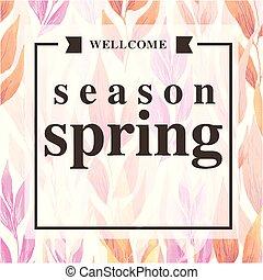 ピンク, 広場, wellcome, 季節, イメージ, ベクトル, 背景, 春