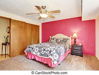 ピンク, 床, 現代, 寝室, ワードローブ, カーペット