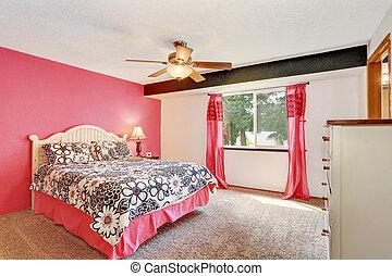 ピンク, 床, 現代, 寝室, 白, 家具, カーペット