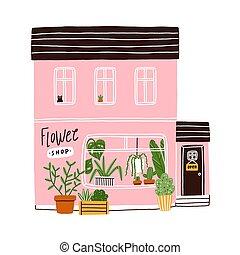 ピンク, 店, 家, 花, ベクトル, イラスト