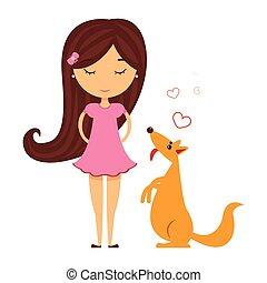 ピンク, 彼女。, モデル, ペット, 犬, 黄色, 隔離された, ∥横に∥, ベクトル, イラスト, 女の赤ん坊, 服, 微笑, 幸せ