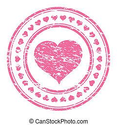 ピンク, 心, イラストレーター, 切手, 隔離された, ゴム, ベクトル, 背景, グランジ, 白