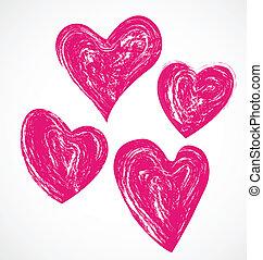 ピンク, 心, グランジ, ロゴ, アイコン
