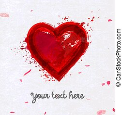 ピンク, 心, グランジ, dryed, 大きい, petals., 挨拶, バレンタイン, s, 紙カード, 背景, 米, 日, 赤, 血