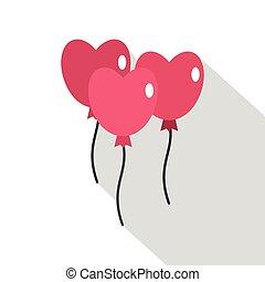 ピンク, 心, スタイル, 平ら, 形, アイコン, 風船
