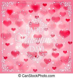 ピンク, 心, バレンタインデー, 背景