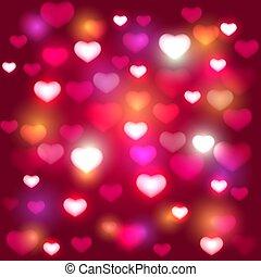 ピンク, 心, バレンタイン, 光沢がある, 背景