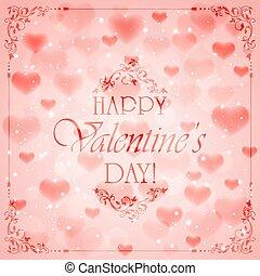 ピンク, 心, バレンタイン, 背景