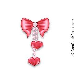 ピンク, 心, パール, 贈り物, 隔離された, 弓, 背景, 掛かること, 白いリボン