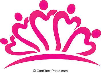 ピンク, 心, ベクトル, ロゴ