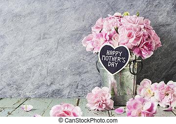 ピンク, 心, 亜鉛, 母, バケツ, 木, カーネーション, 手紙, 花, 日, 幸せ