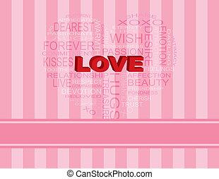 ピンク, 心, 単語, 形, 背景, 愛, 雲