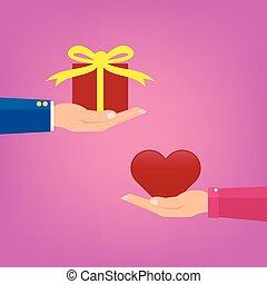 ピンク, 心, 女, 愛, ギフトの 提供, 恋人, 箱, イラスト, バレンタイン, day., ベクトル, 概念, color., 赤, 人
