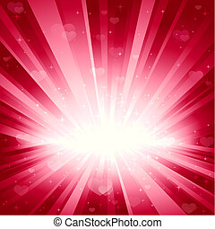 ピンク, 心, 星, ロマンチック, 背景