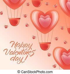 ピンク, 心, -, 空気, バレンタイン, 風船, 日, カード, 幸せ