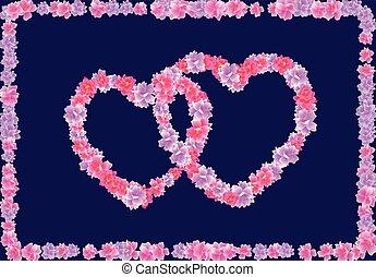 ピンク, 心, 花, s, フレーム, flowers., 2, イラスト, バレンタイン, day., sakura, 背景, さくらんぼ, 暗い, 花