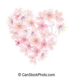 ピンク, 心, 隔離された, ベクトル, 白い花