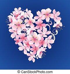 ピンク, 心, 青, 暗い, ベクトル, 背景, 花