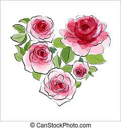 ピンク, 心, roses., 水彩画