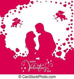ピンク, 恋人, バレンタイン, 背景, 心, 情事
