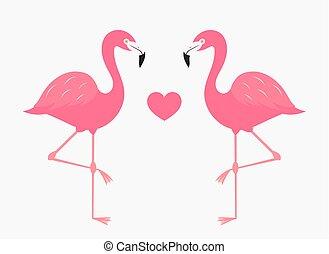 ピンク, 恋人, フラミンゴ, 愛