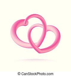 ピンク, 恋人, 隔離された, イラスト, バックグラウンド。, ベクトル, 心, 白, 3d